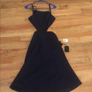 NBD  navy blue cut out midi dress NWT